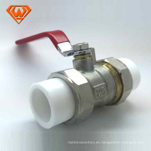 Válvula de bola de cobre amarillo de la fabricación de China con la unión doble de PPR hecha en China