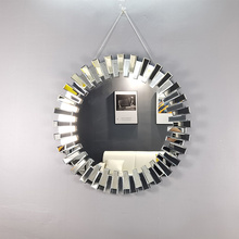 modern silver sun shape round decorative wall mirrors