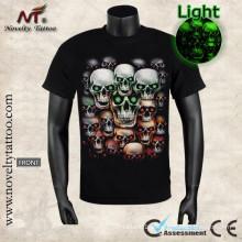 Y-100208 Crânio do demónio na camisa de T Resplendor luminoso a obscuridade SML XL