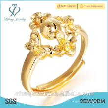 Hand made size adjustable Irregular style 18k gold plating rings for girl