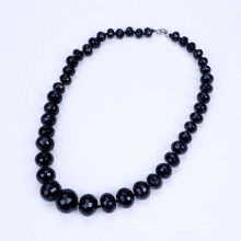 Graduate Shape From 10mm to 20mm Black Agate Necklace