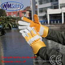 NMSAFETY two palm leather welding glove cow split security leather gloves
