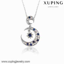00117 Fashion Rhodium CZ Moon Star Design Collar colgante de la joyería
