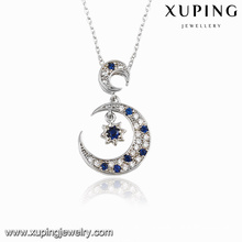 00117 Fashion Rhodium CZ Moon Star Design Bijoux Pendentif Collier