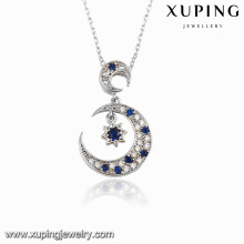 00117 Fashion Rhodium CZ Moon Star Design Jewelry Pendant Necklace