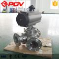 Flange elétrica pneumática conectar tipo Y 3 vias de 120 graus de 135 graus válvula de esfera