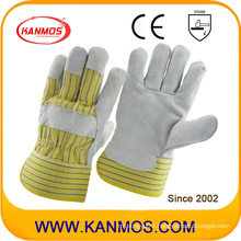Yellow Stripe Industrial Safety Cowhide Split Leather Work Gloves (110075)