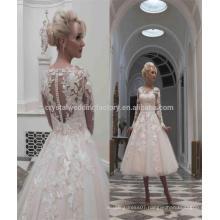 Vestidos De Noiva Puffy Lace Ball Gown Long Sleeve 2017 Knee length Short Wedding Dresses MW977