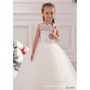 New Latest Children Wedding bridesmide dresses Frocks Birthday Lace Ball Gown Long Flower Girl Dresses Pattern Kids Party LF22
