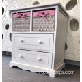 White Chest Drawers Storage Unit Wicker Baskets Pink Girls Furniture Shabby Chic