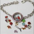 Fashion Jewellery Heart Shaped Alloy Glass Locket Bracelet