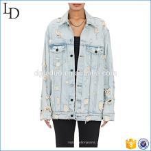 Espalhe colarinho oversize denim jaqueta luz lavagem cor com angústia