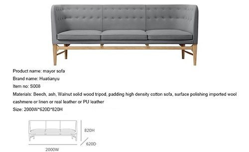Grey Linen Mayor Sofa