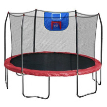 12FT Red Trampoline with Safety Enclosure and Hoop