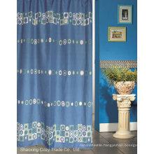 Blue Sea Circle Design Fabric Shower Curtain