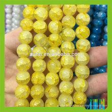Cristal 12 milímetros de vidro amarelo Jade Jóias Crackle Beads