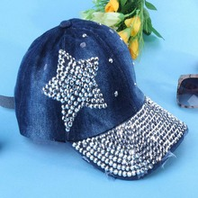 2014 nueva moda primavera otoño diamante remache cinco puntas estrella Jeans pico tapa ajustable gorra de béisbol
