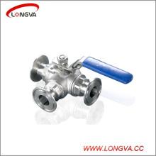 Válvula de bola con 3 vías de acero inoxidable