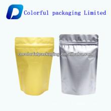 Sacos forrados em folha para café com fecho zip / saco de café em folha de alumínio com válvula unidireccional