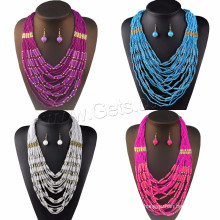 Fashion Jewelry Sale Glass Sea Beads Earring & Necklace African Beads Jewelry Set