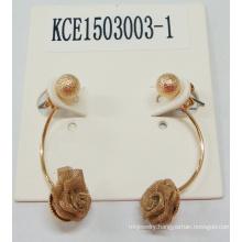 Fabric Flower Golden Earring Fashion Jewelry