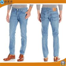 New Mens Slim Fit Calças Denim Retas Blue Jeans