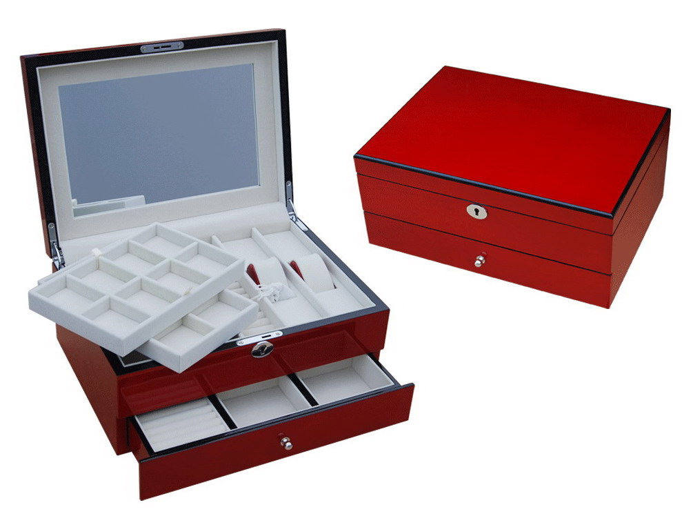 Jty 30wr Red Wood Ladies Jewelry Box