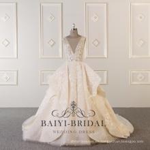 Vestido de novia con volantes por encargo atractivo con cuello en V de Alibaba de la bola de cuentas