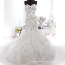 LS0119 Real factory wedding dress lace appliqued handmade flower rhinestone wedding dress mermaid wedding dress with ruffles