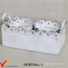S/3 Shabby Chic White Metal Iron Planter with Tray
