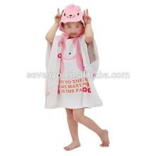 100% Cotton Animal Cartoon Style Print Hooded Bath Wrap Coat Travel Holiday Beach Swimming Pool Sauna Spa Poncho Bathing Towel