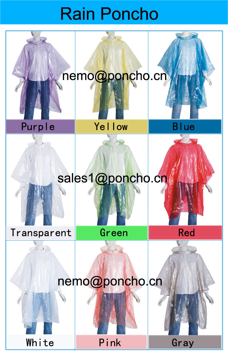 Cheap disposable colorfull rain poncho