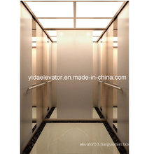 Gearless Passenger Lift with Etching and Rose-Gold Brushed Stainless Steel