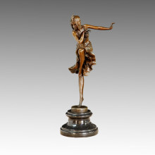 Estatua de bailarín Alegría bailando escultura de bronce, DH Chiparus TPE-466