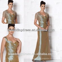 HM2011 Cheap short sleeve lace jacket A-line floor length long ruched top cheap price ruffled taffeta mother bride dress