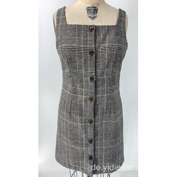 Frauen Vintage Plaid ärmelloses Kleid