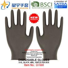 Черный цвет, без порошка, одноразовые нитриловые перчатки, 100 / коробка (S, M, L, XL) с CE. Перчатки для экзамена