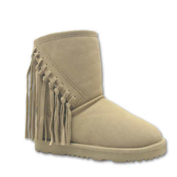 Childrens Tan Winter Half Boots with Fringes