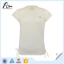 Art- und Weisedame-kundenspezifisches Druck-Baumwollsport-Qualitäts-einfaches T-Shirt