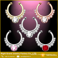 Gold, Silver, Rose Gold Clip On Tribal Body Jewelry Septum