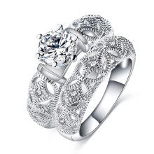 Silver Pave Amethyst Stone Mens Wedding Ring Sets Designs (CRI0485)