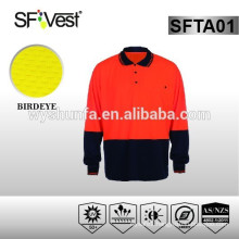 Australia style safety clothing road safety equipment long sleeve polo neck t-shirt hi-vis t-shirt