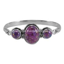 Фиолетовый меди бирюзовый драгоценных камней с 925 стерлингового серебра Безель комплект простой Браслет