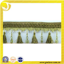 Tablecolth Linen Plastic Beaded Tassel Fringe Curtain Trimming with Cylinder-Shaped Home Textile