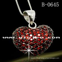 Pendente vermelho da prata esterlina do amor 925 (B-0645E)