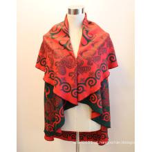 Senhora fashion rodada viscose tecido jacquard xale capa (yky4417)