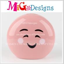 New Products Cute Smile Face Designed Ceramic Piggy Bank