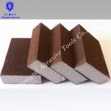 Fine/medium grit abrasive sanding sponge block for tile seam