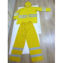 Желтый костюм для дождя с отражающей лентой (DFRS16002)