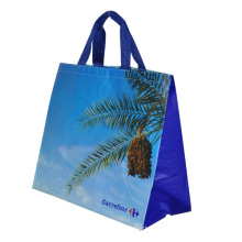 Supermarket shopping environmental reusable carrefour plastic recycled pp woven shopping bags